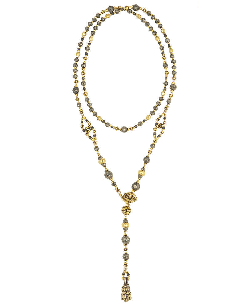 Pyrite and Gold Lariat long