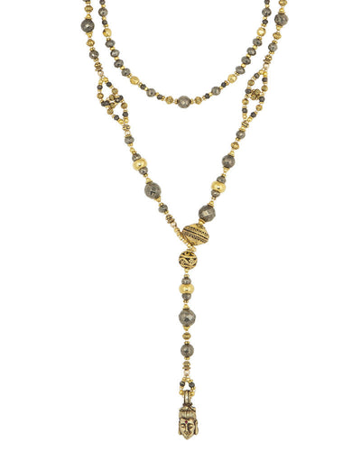 Pyrite and Gold Lariat