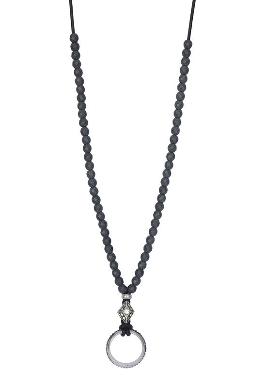 Sapphire and Hematite Eyering Necklace