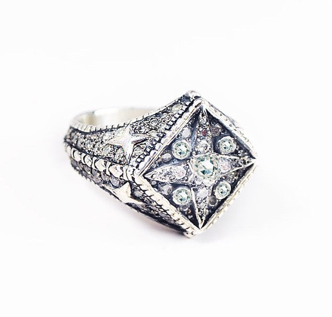 Silver diamond superstar men's ring