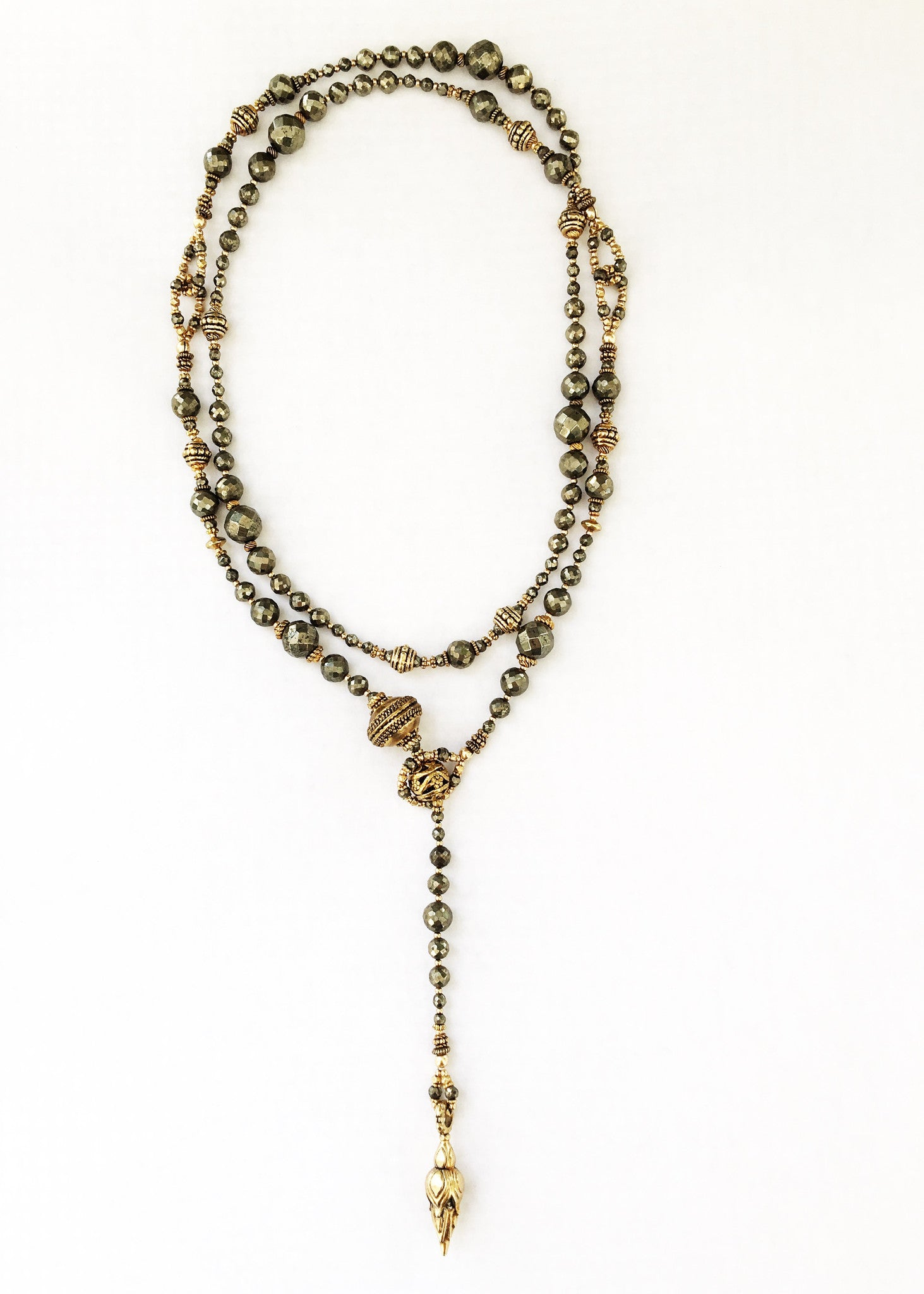 Pyrite and Gold Vermeil Lariat