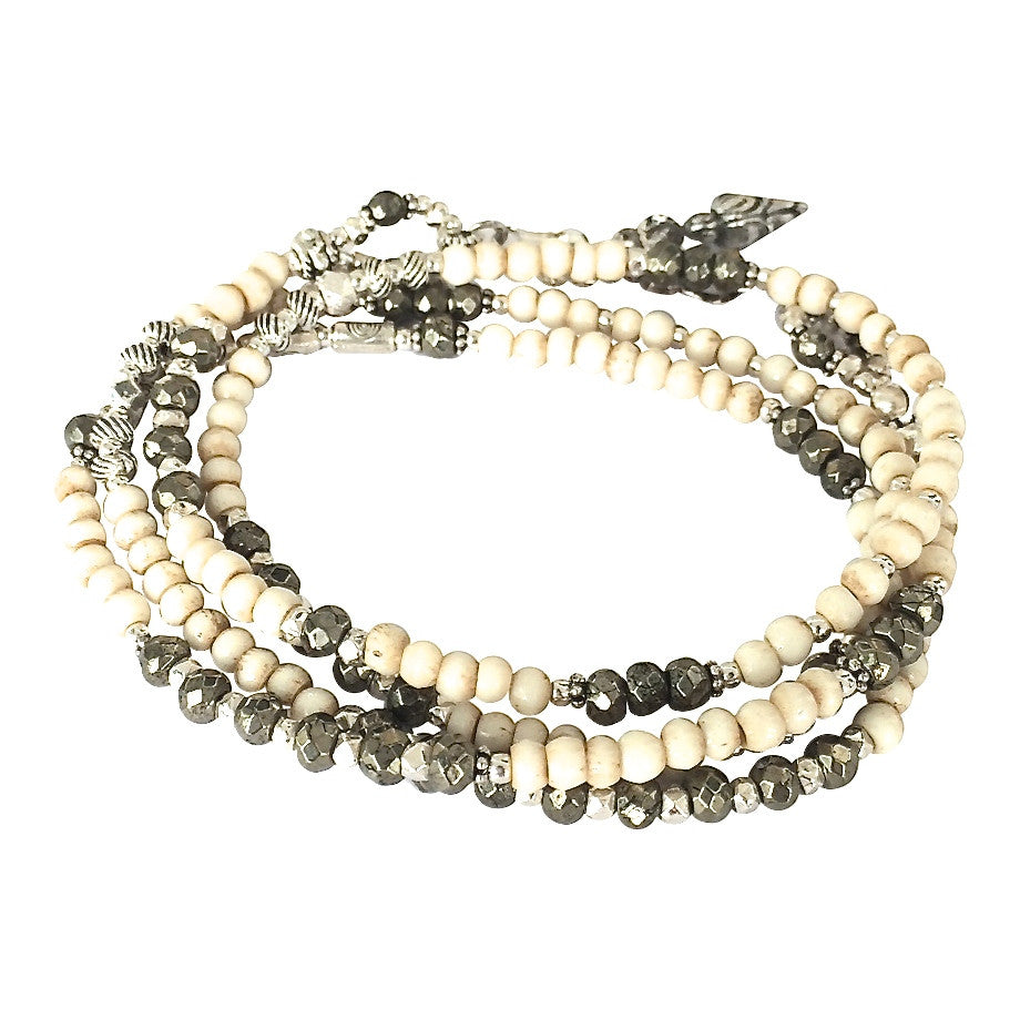 Antique Mala and Pyrite Multi Wrap