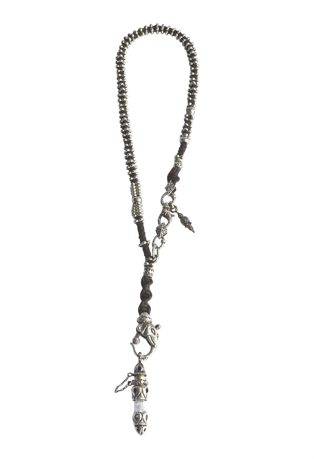 Sterling Silver Rope Necklace With Diamond Vile