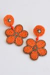 FLOWER BEADED EARRINGS -ORANGE