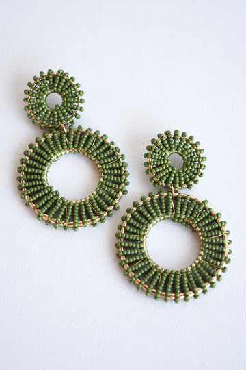 BEADED CIRCLE EARRINGS -OLIVE