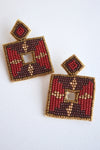 BEADED SQUARE EARRINGS -BURGUNDY