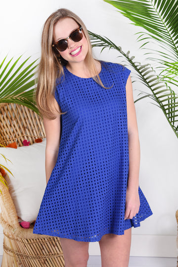 SWEET AS CAN BE DRESS- ROYAL BLUE