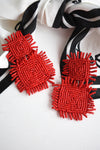RED BEADED SQUARE EARRINGS