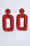 SEED BEAD RECTANGLE EARRINGS -RED - Dear Stella Boutique