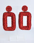 SEED BEAD RECTANGLE EARRINGS -RED