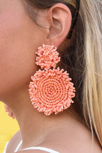 BEADED DISK EARRINGS -PEACH