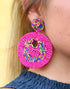 BEADED CIRCLE EARRINGS -PINK