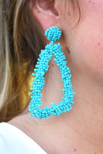 SEED BEAD TRIANGLE EARRINGS -TURQUOISE