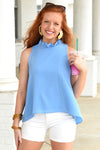 TELL ME EVERYTHING TOP -BLUE - Dear Stella Boutique