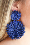 SEED BEAD DISK EARRINGS -NAVY - Dear Stella Boutique