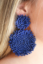 SEED BEAD DISK EARRINGS -NAVY