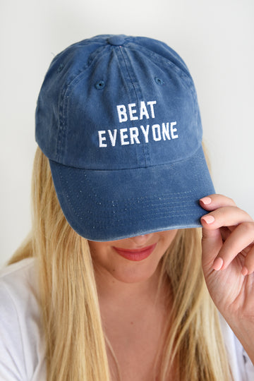 BEAT EVERYONE HAT -BLUE