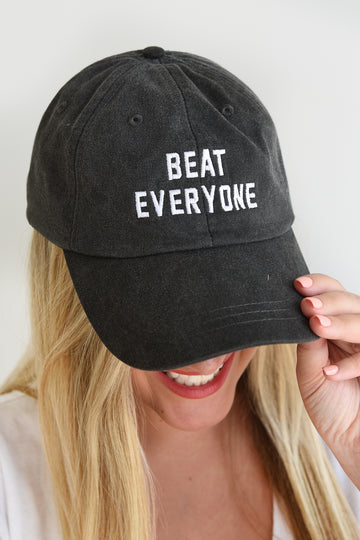 BEAT EVERYONE HAT -BLACK