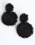 SEED BEAD DISK EARRINGS -BLACK