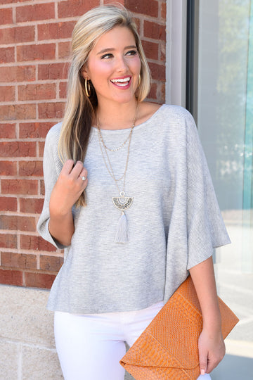 A LITTLE BIT OF LOVE SWEATER -GREY