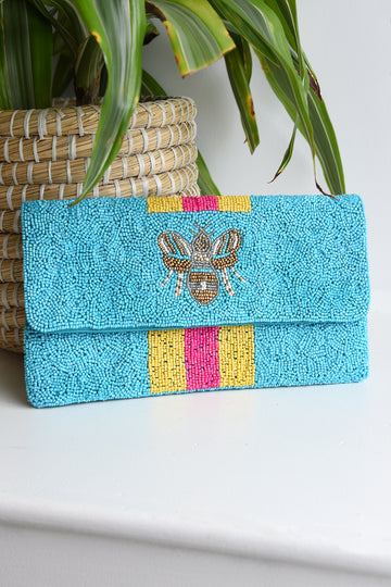 QUEEN BEE BEADED CLUTCH - AQUA