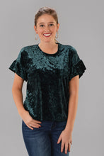Z SUPPLY VELOUR RUFFLE TOP -GREEN