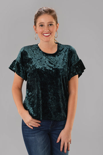 Z SUPPLY VELOUR RUFFLE TOP -GREEN - Dear Stella Boutique