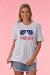 PATRIOTIC SHADES GRAPHIC TEE - HEATHER GREY