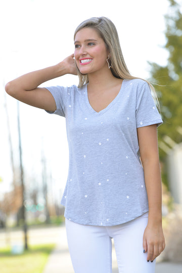 Z SUPPLY STAR PRINT V-NECK TEE - Dear Stella Boutique