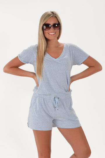 Z SUPPLY PIA TRIBLEND ROMPER - FOREVER BLUE