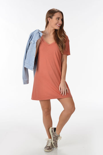 Z SUPPLY ORGANIC COTTON T-SHIRT DRESS -DESERT SAND