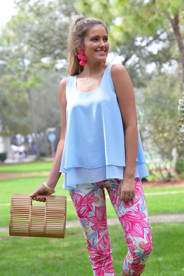 IN THE MOMENT TOP- BLUE - Dear Stella Boutique