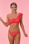 SOAK UP THE SUN BIKINI TOP - RED POLKA DOT - Dear Stella Boutique
