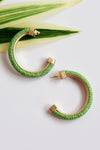 STRAW WRAPPED HOOP EARRING -GREEN - Dear Stella Boutique