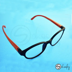 Online Class Eye Protection - Amber Orange Oval Specs
