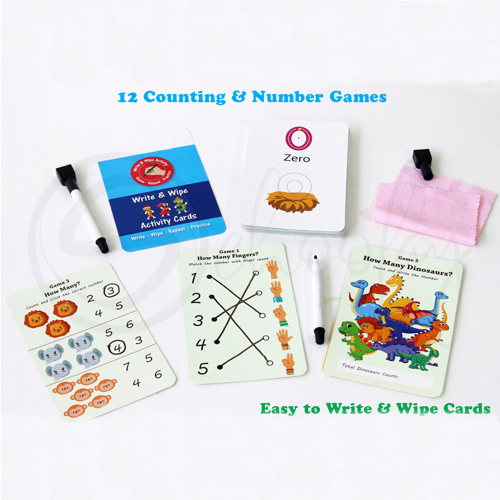 Learn it - Numbers Write & Wipe activities for kids (3 - 6 Years)