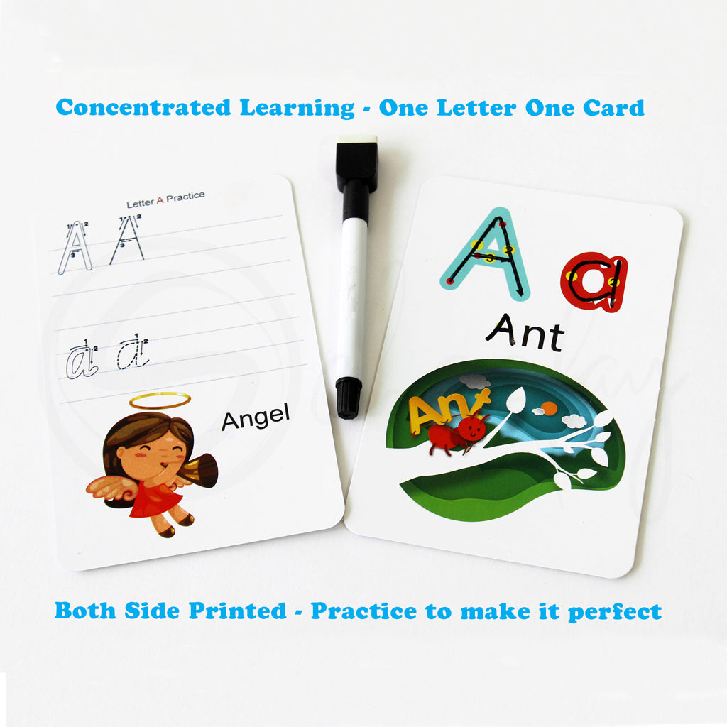 Learn it - ALPHABETS - Write & Wipe activities for kids (3 - 6 Years)