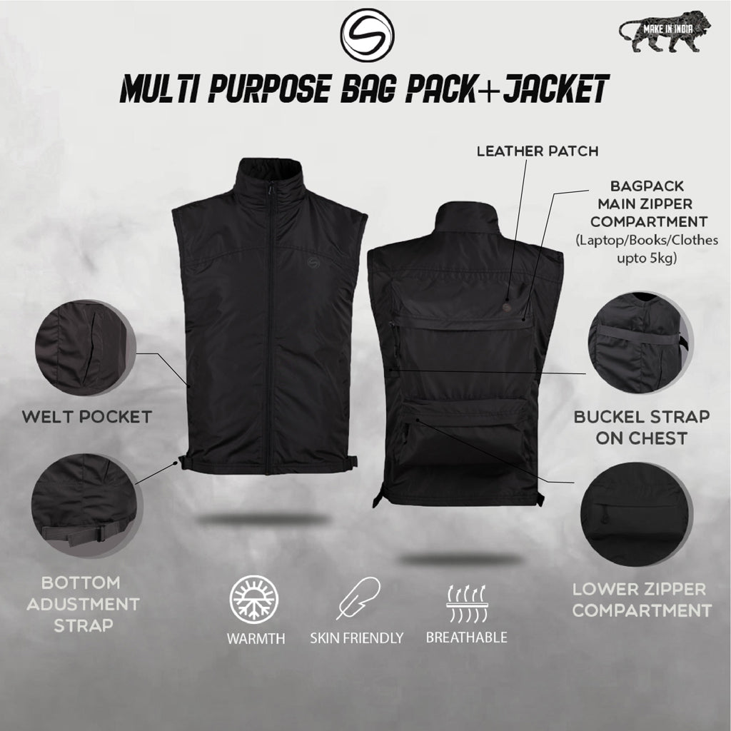 Black JackPack (Jacket + Backpack) Core Functionality
