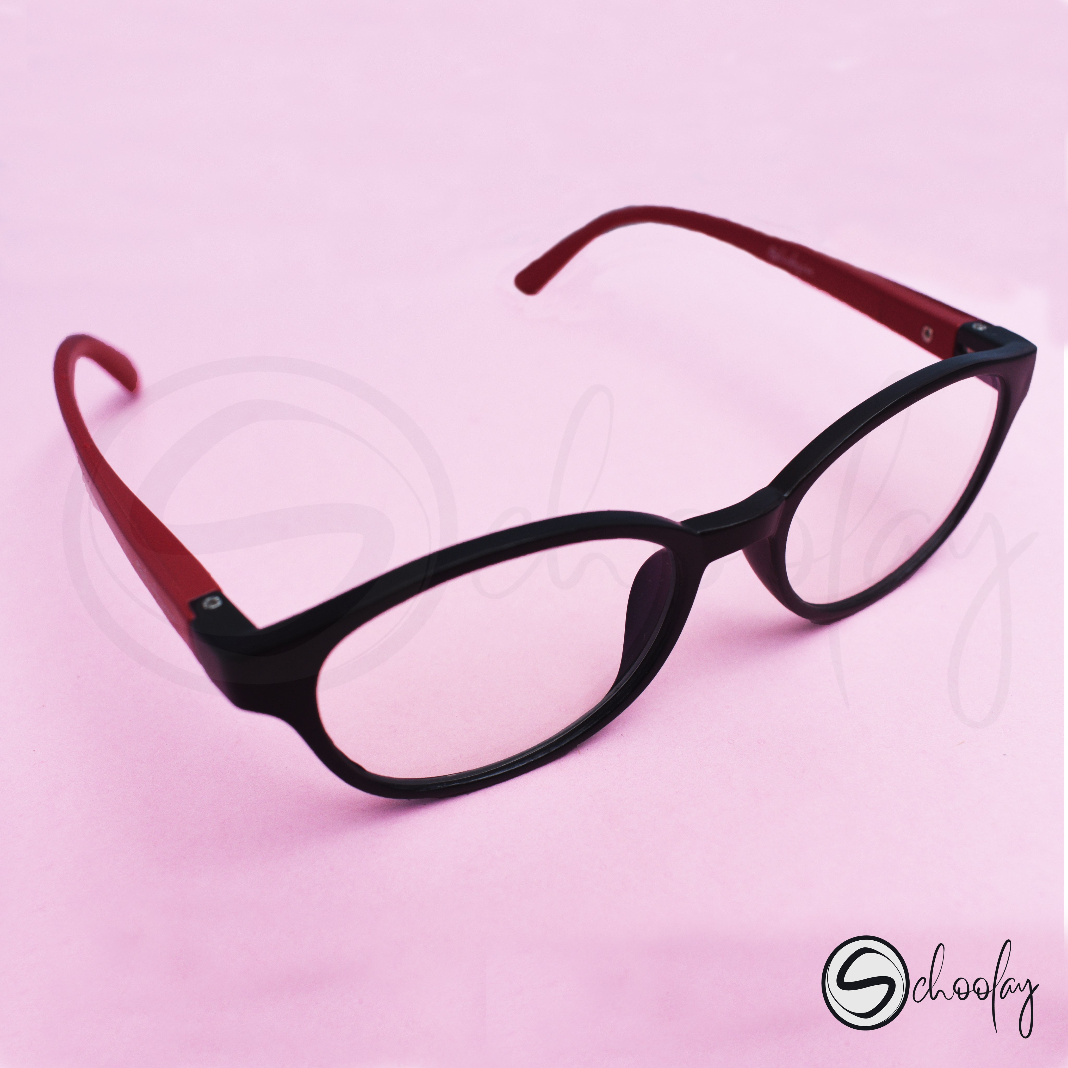 2-12 Years Online Class Eye Protection - Wine Red Oval Specs