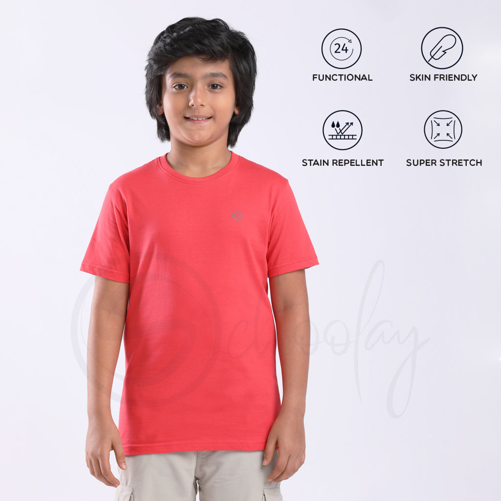 Stain Repeller Solid Salmon Red Tee
