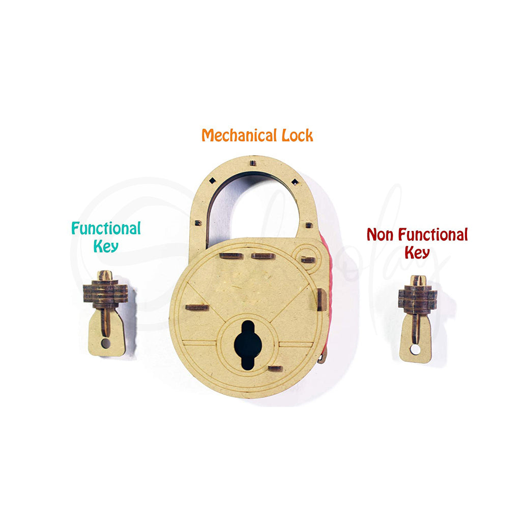 Do IT Yourself Wood Made Mechanical Lock (Mind Sharpening Activity) (6 Yrs & Above)