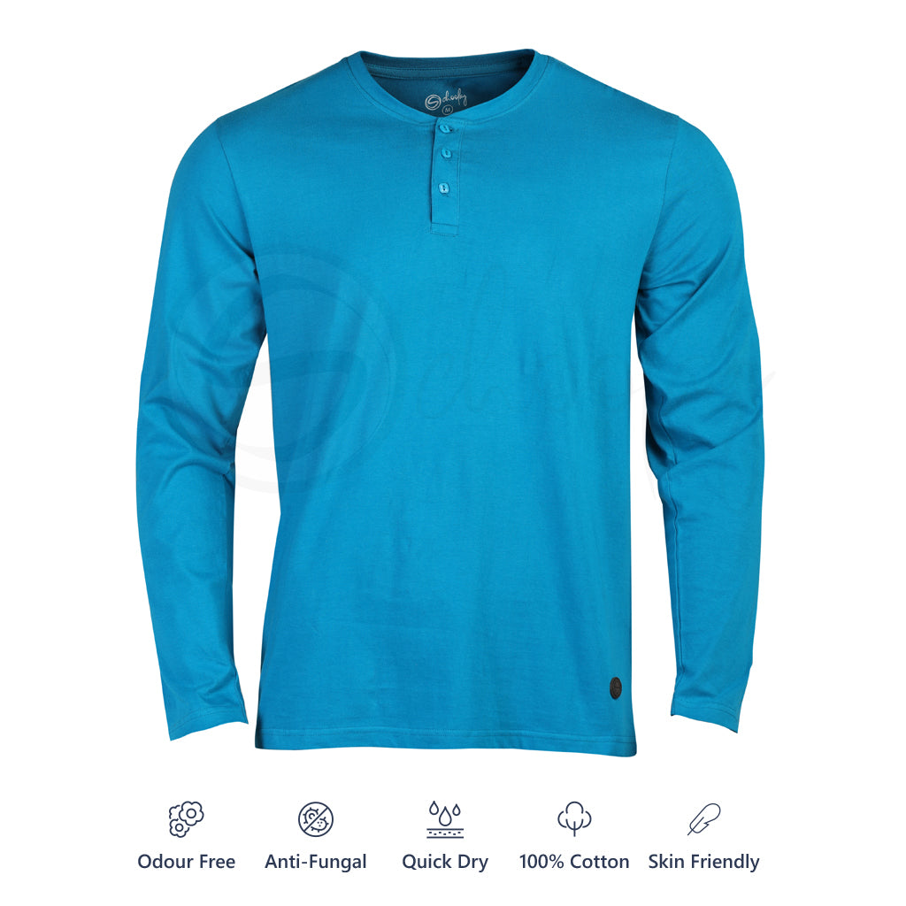 Zero Stain 100% Premium Cotton Full Sleeve Turquoise Blue Henley T-shirt