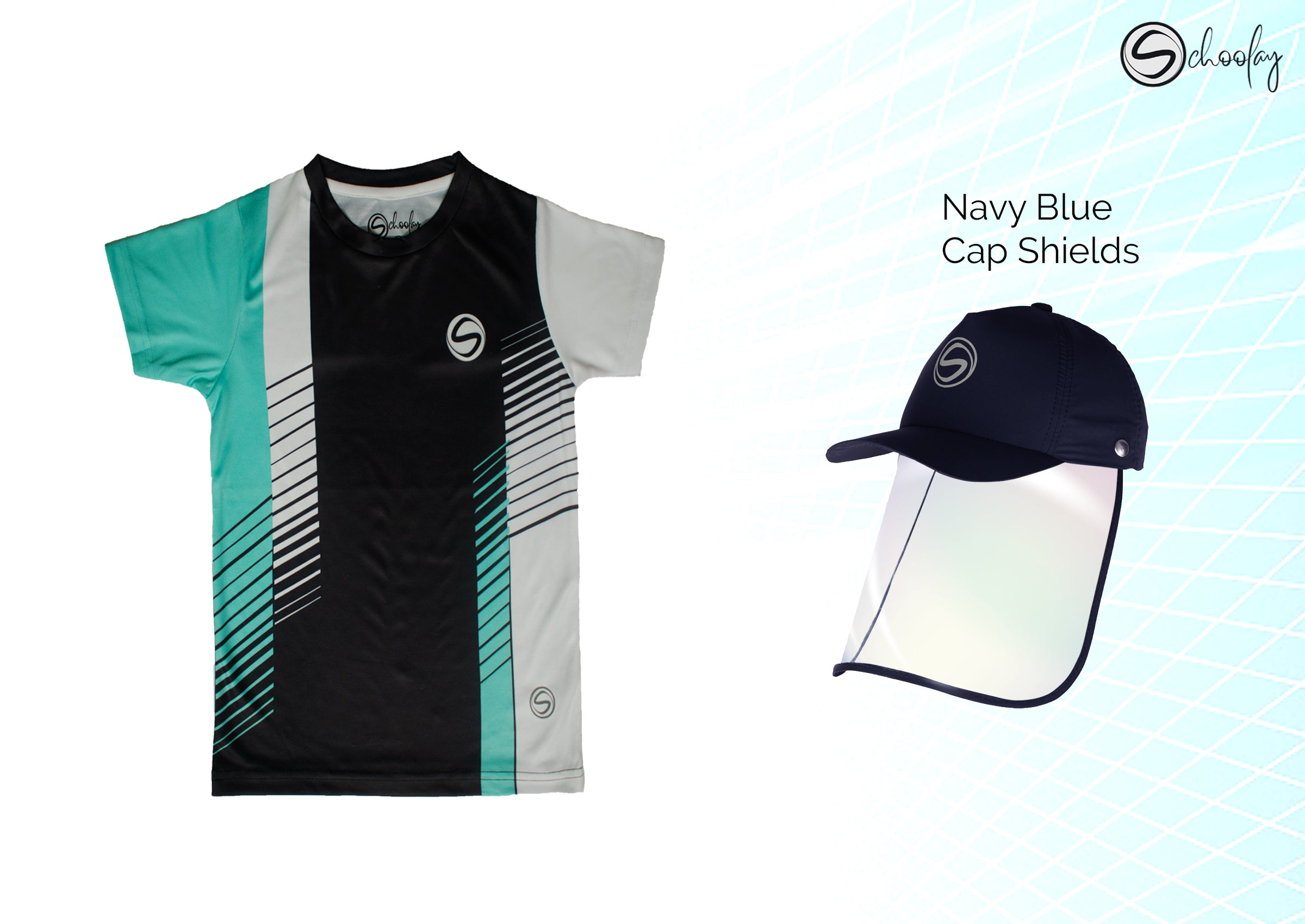All Day Wear Black & Teal Tee & Cap Shield Combo
