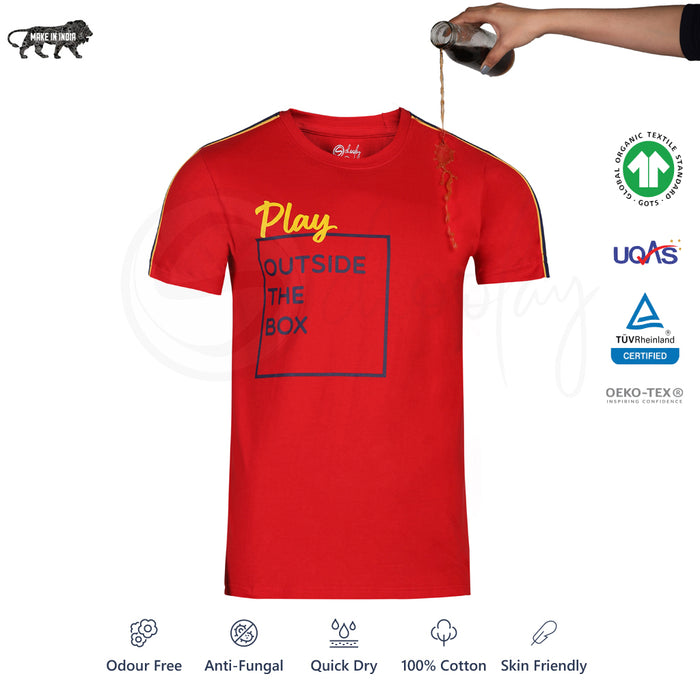 Zero Stain 100% Premium Cotton Printed Red  #Play_IT T-shirt