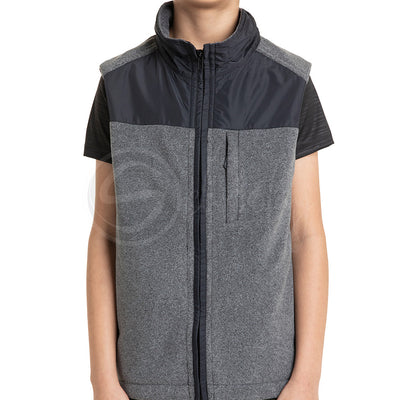 Polar English Fleece Bomber Vest - Charcoal Grey & Black