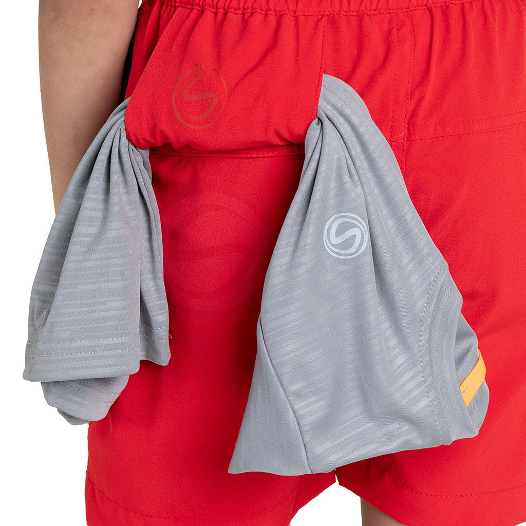 Multipurpose Utility Shorts With Attached Sanitizer Holder & T-shirt Holder - Red
