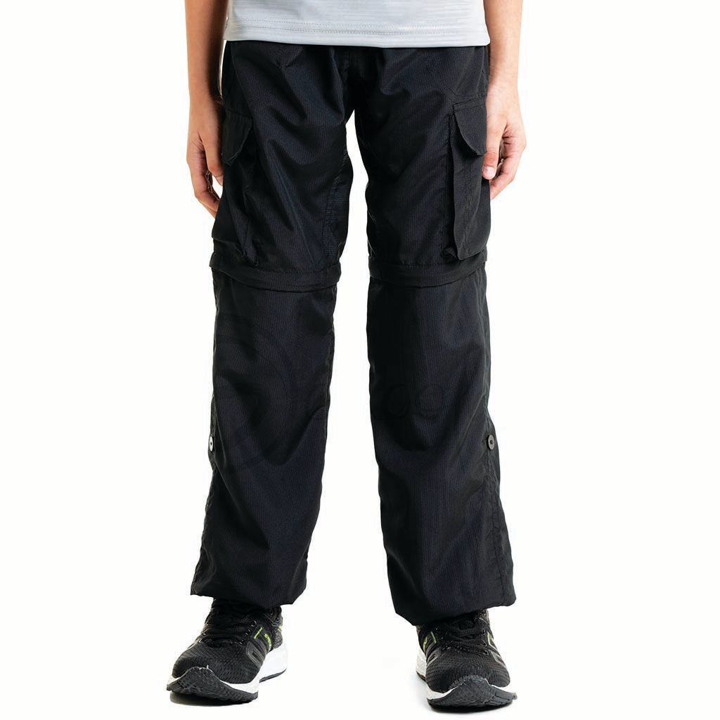 Black 4 in 1  Convertible Cargos (Full Pant, 3/4th , Shorts & Pouch)