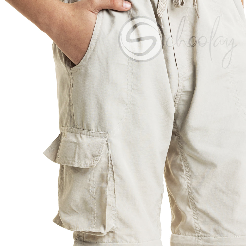 Beige 4 in 1  Convertible Cargos (Full Pant, 3/4th , Shorts & Pouch)