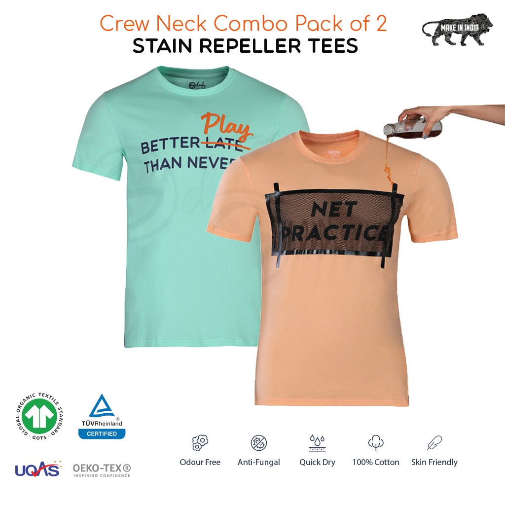 Pack of 2 Stain Repellent Printed T-shirts - Net Practice & Better Play Than Never