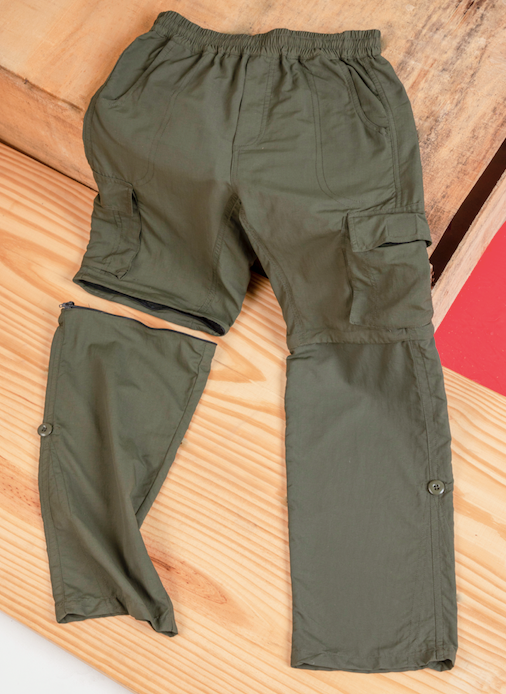 Olive 4 in 1  Convertible Cargos (Full Pant, 3/4th , Shorts & Pouch)
